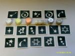 Stars themed glitter tattoo set including 30 stencils + glitter + glue   sky swirling David
